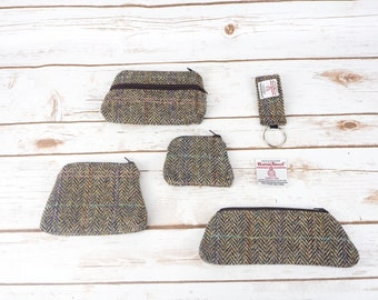 Brown Herringbone Harris Tweed Accessories - Coin Purse, Pen/ Glasses Case, Keyring