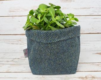 Medium Fabric Pot in Grey Herringbone Fine Harris Tweed