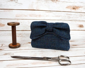 Audrey - Navy Harris Tweed Clutch Bag - evening purse - bow - formal - handmade
