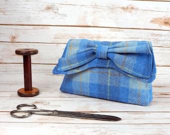 Katharine - Blue tartan Harris Tweed Clutch Bag - evening purse - bow - formal - handmade
