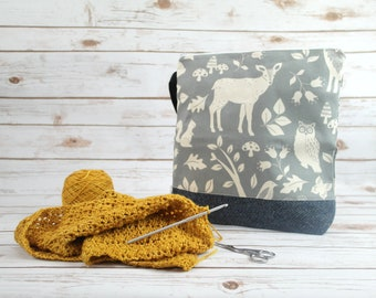 Grey Animals Crafting Pouch with Harris Tweed