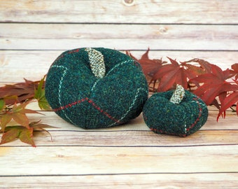 Plush Harris Tweed Pumpkins - Green With White and Red Overcheck