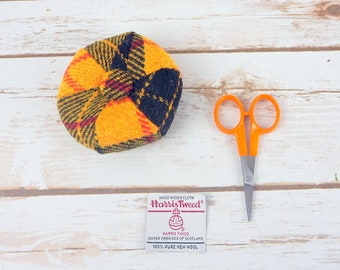 Yellow Tartan Harris Tweed Pin Cushion