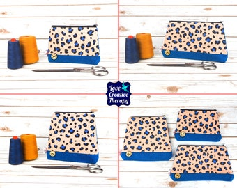 Zipped Pouches: Leopard Print Cotton and Harris Tweed - Choose Size!