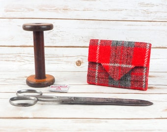 Red & Grey Tartan Harris Tweed Small Ladies Wallet with Coin Section