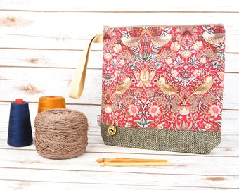 William Morris Strawberry Thief Print Project bag with Harris Tweed base