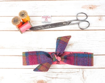 Harris Tweed Blue & Pink Head Band Scarf - Double Sided