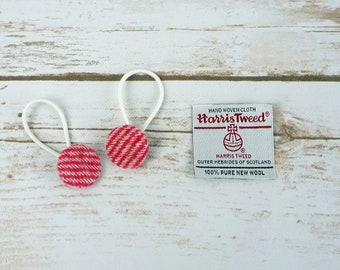 Red Pink Stripe Harris Tweed Button Hair Bobbles