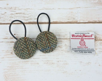 Green Herringbone Harris Tweed Button Hair Bobbles