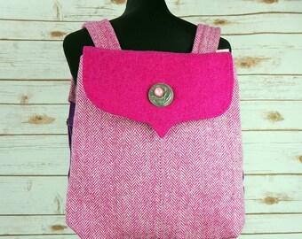 Beulah - Pink Herringbone Harris Tweed Backpack- Handmade Handbag - Rucksack/ Knapsack - Casual Bags - Gift for her - Vintage Brooch