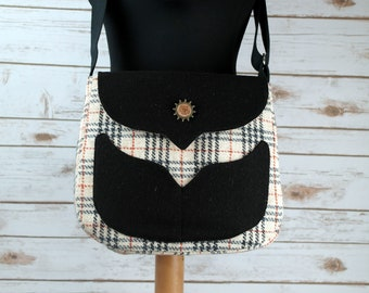 Myrtle - Oatmeal Tartan Harris Tweed Cross Body Bag - Handmade Handbag - Messenger Bag - Casual Bags - Gift for her - Vintage Brooch