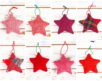 Christmas Stars Decoration - Made from Harris Tweed or Donegal Tweed - Choose from lots of red tweeds!
