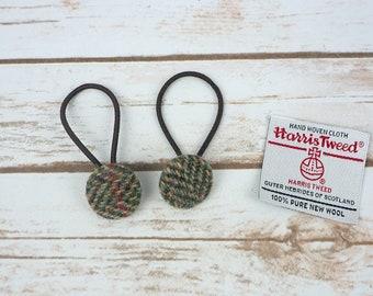 Green Herringbone Harris Tweed Button Hair Bobbles