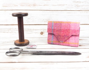 Pink Tartan Small Harris Tweed Ladies Wallet with Coin Section