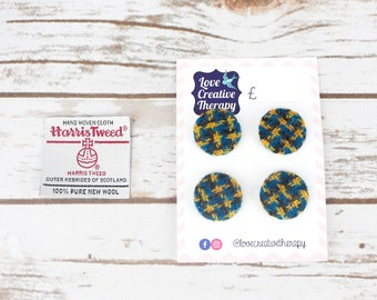 Blue, Yellow & Black Check Harris Tweed Covered Buttons - 23mm