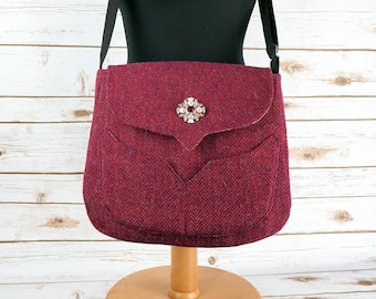 Myrtle - Raspberry Pink Herringbone Harris Tweed Cross Body Bag - Handmade Handbag - Messenger Bag - Casual Bags - Gift for her