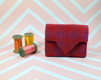 Ladies Red Pink Check Harris Tweed wallet with coin section - money organiser - foldover wallet - purse