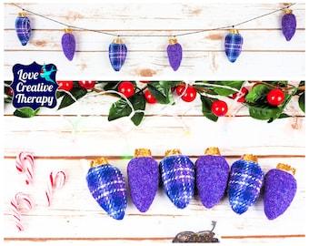 Purple Tartan and plain purple Harris Tweed Fairy 'Lights' Garland