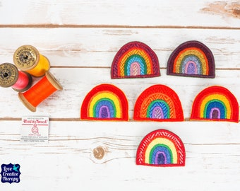 Rainbow Harris Tweed pin brooch - Choose from Variety!