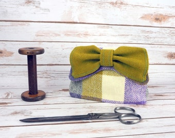 Audrey - Purple Green Cream Herringbone Patchwork Harris Tweed Clutch Bag