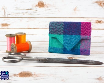 Teal, Pink and Maroon Herringbone Block Check Harris Tweed Small Ladies Wallet with Coin Section