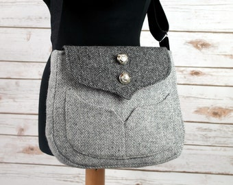 Myrtle - Grey Herringbone Harris Tweed Cross Body Bag - Handmade Handbag - Messenger Bag - Casual Bags - Gift for her -Vintage Brooch