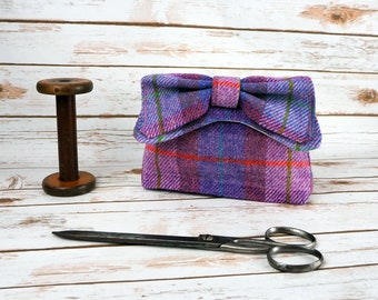 Audrey - Lilac Tartan Harris Tweed Evening Purse