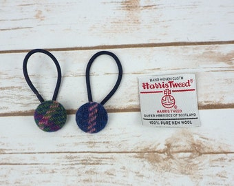 Green Navy Tartan Harris Tweed Button Hair Bobbles