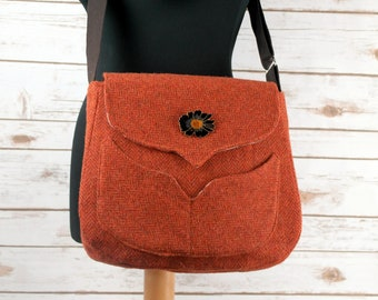 Myrtle - Orange Herringbone Harris Tweed Cross Body Bag - Handmade Handbag - Messenger Bag - Casual Bags - Gift for her - Vintage Brooch