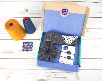 Grey Harris Tweed Hair Accessories Gift Box - Head Band Scarf, Scrunchie and Bobbles