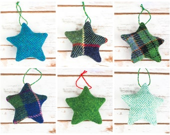 Christmas Stars Decoration - Made from Harris Tweed - Choose from Green tweeds!