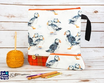 Puffin Craft bag with Harris Tweed base & pencil case gift set
