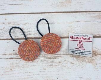 Orange Herringbone Harris Tweed Button Hair Bobbles