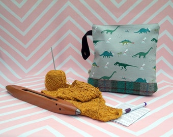 Crafting Pouch with Harris Tweed base - Craft Bag - Project - Knitting - Crochet - Sewing - Needlework - Gifts for her - Dinosaur