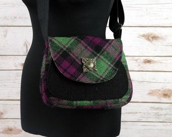 Bella - Green, Black & Maroon Tartan Harris Tweed Cross Body Bag - Handmade Handbag - Shoulder Bag - Casual Bags - Gift for her