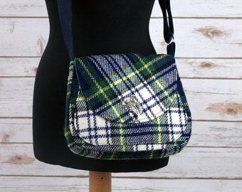 Bella - Blue Green Tartan Harris Tweed Cross Body Bag - Handmade Handbag - Shoulder Bag - Casual Bags - Gift for her - Vintage Buttons