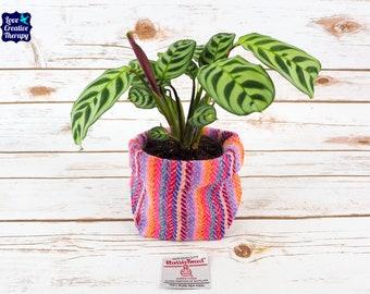 Small Fabric Pot in Pink & Purple Stripe Harris Tweed
