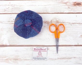 Blue Tartan Harris Tweed Pin Cushion
