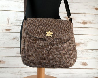 Myrtle - Brown Herringbone Donegal Tweed Cross Body Bag - Handmade Handbag - Messenger Bag - Casual Bags - Gift for her - Vintage Brooch