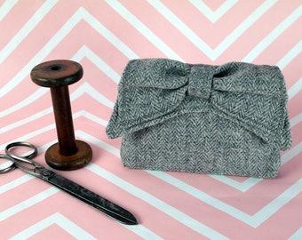 Audrey - Grey Herringbone Harris Tweed Clutch Bag - evening purse - bow - formal - handmade