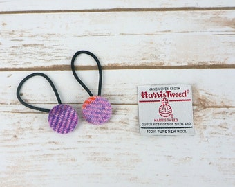 Purple Tartan Harris Tweed Button Hair Bobbles