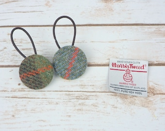 MacLeod Tartan Harris Tweed Button Hair Bobbles
