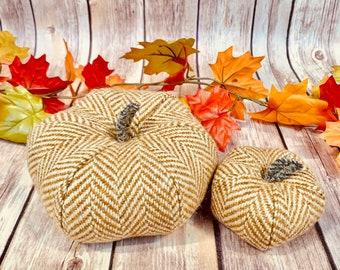 Plush Donegal Tweed Pumpkins - Set of two in  cream & gold Herringbone
