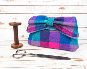 Katharine - Teal and Pink Check Harris Tweed Clutch Bag