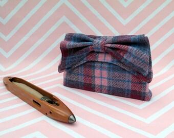 Katharine - Pink Tartan Harris Tweed Clutch Bag - evening purse - bow - formal - handmade