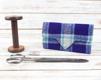 Purple, Blue & Grey Tartan Harris Tweed Wallet with Coin Section