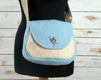 Bella - Baby Blue Herringbone Harris Tweed Cross Body Bag - Handmade Handbag - Shoulder Bag - Casual Bags - Gift for her