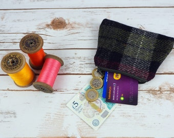 Harris Tweed Coin purse - change purse - small pouch - cosmetic bag - wallet for notes and cards - earphone pouch