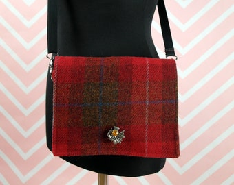Jane - Red Tartan Harris Tweed Cross Body Bag - Handmade Handbag - Shoulder Bag- Casual Bags- Gift for her - Vintage Brooch
