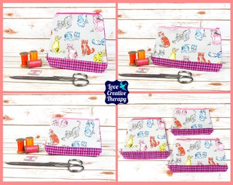 Zipped Pouches: Cath Kidston Cats Cotton and Harris Tweed - Choose Size!
